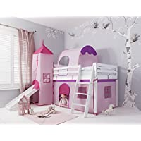 Cabin Bed with Slide Kids Midsleeper in Pink Hideaway with Tent, Tunnel, Tower & Tidy Noa & Nani (White)