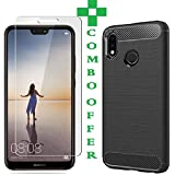 Azzil Tempered Glass & Back Cover, Premium [Combo Offer Black Hybrid-5.84 Inch] Matte Finish Soft Silicon Perfect Fit Case For Huawei P20 Lite