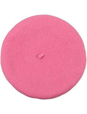TININNA Autunno e Invernale Moda Caldo Colore solido Berretto per bambini Cappello di lana Beanie Hat Beret(Rosa)