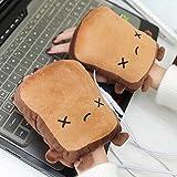 1 paire mignonne forme de pain grillé chauffant usb gant hiver chaud moitié mitaines chauffe main sans doigts (Color : Crying Face)
