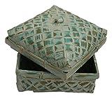 Wohnkult Truhe Korb Körbchen 14 cm Echte Handarbeit aus Bambus in 4 Farben (Mintgrün)
