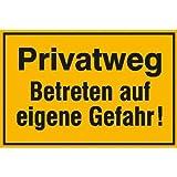 Privatweg - Betreten auf eigene Gefahr! Hinweisschild, Alu, 25x15 cm