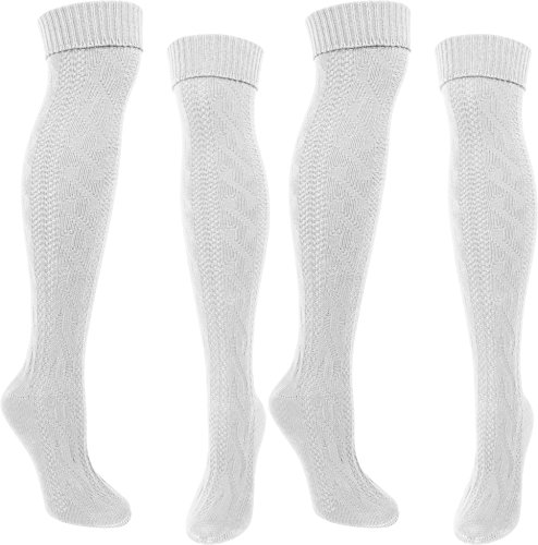 LANGE Trachtensocken Trachten Strümpfe für lederhosen Kniebund Socken Natur Farbe 2 Paar Weiß Größe 39/42