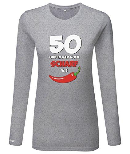 50 und immer noch scharf wie Chilli - Geburtstag - Damen Langarmshirt Grau Meliert