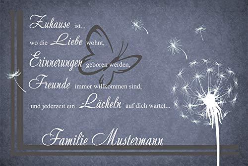 Eule-Design Personalisierte Fußmatte Pusteblume mit Namen grau* 60x40 Individuell Geschenk für Familie Freunde
