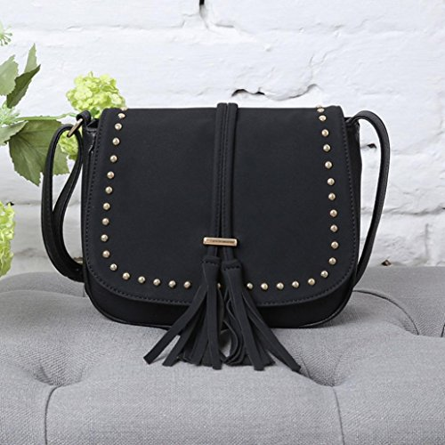 Pu Zaino, Fashion Bag Scrub Pacchetto Messenger Borse Rivetto Spalla Borsa Flap Donna by Kangrunmy Nero