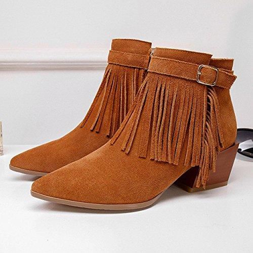WSS chaussures à talon haut L'Europe a souligné glands en cuir à capuche couleur unie bottes pour dames Brown
