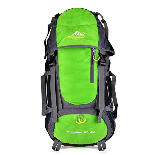 Vbiger zaino Trekking Sport Escursionismo Camping Grand-volume di 55 L (Verde, 55L)