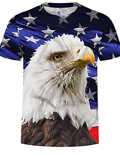 n Herren Plus Size Baumwoll T-Shirt - Animal Print Rundhals Regenbogen 4XL, Regenbogen, XXL ()