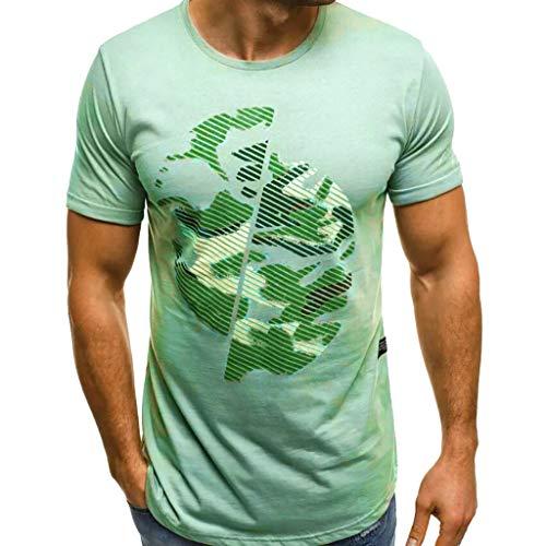 BHYDRY Herren Druck Camouflage Farbverlauf Lässige Mode Revers Kurzarm Shirt