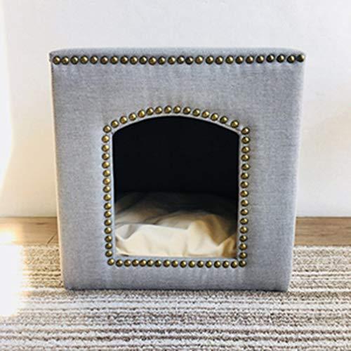 ZCNNO Multifunktionale Haustier Hund Nest Hocker Dual Zweck kleine Hund Teddy Panda Nest kreative Massivholz Schuh Hocker