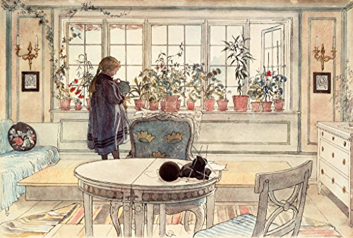 Kunstdruck/Poster: Carl Larsson C Larsson Das Blumenfenster - hochwertiger Druck, Bild, Kunstposter, 75x50 cm -