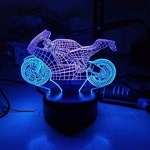 Shuyinju Moto 3D VisualCreative Sette Colori Touch Ricarica Led StereoRegalo3D Light Es