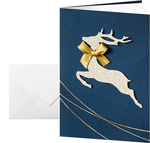 Sigel DS020 Cartes de Noël 2 volets, 10,5 x 14,8 cm, bleu et or, 10 pièces + 10 enveloppes blanches fournies