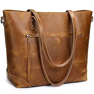 S-ZONE Damen Shopper Vintage 3-Way Echtes Leder Große Laptop Bussiness-Tasche Schultertasche Handtasche Mode Messenger Bag