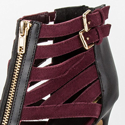 Azbro Women's Peep Toe High Stiletto Heels Gladiator Sandals Burgundy