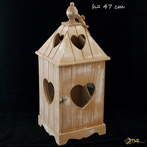 TLC Massive Laterne Holz ca. 50 cm, chabby chic, Vintage NEU 15113