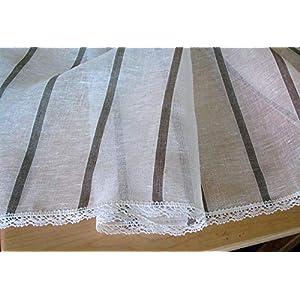 Leinen Tischdecke Striped Natural White Linen Grau