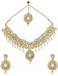 Dancing Girl Kundans Wedding White Metal Alloy Jewellery Set With Necklace Earring And Maang Tika For Women