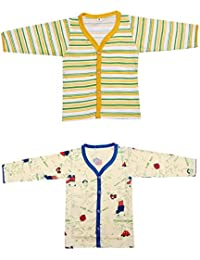 Babeezworld Baby Cotton Front Open Full Sleeves Vest T-shirt Jhabla Top Suitable For Girls & Boys (Kids Combo pack Of 2)