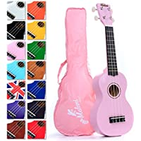 Best Pink Soprano Ukulele with Bag, plus 150+ pages of Uke Songs, Chords, String Stretching Video etc.