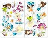 plot4u 24-Teiliges Fee Wandtattoo Set Kinderzimmer Babyzimmer in 5 Größen (2x16x26cm Mehrfarbig)