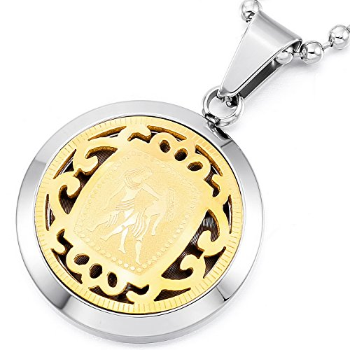 MeMeDIY Silver Gold Two Tone Stainless Steel Pendant Necklace Horoscope Zodiac ,come with Chain - Customized Engraving