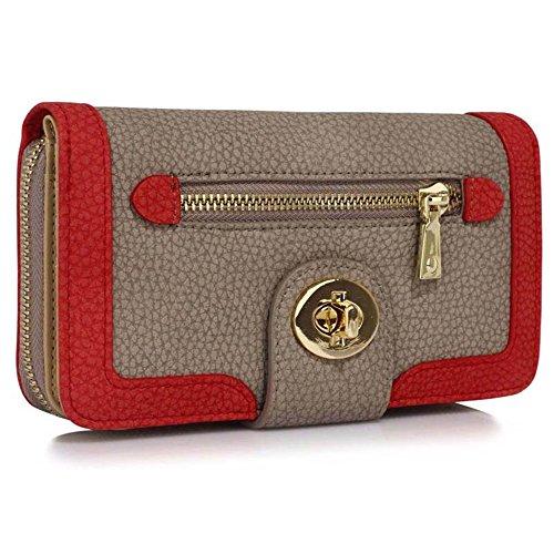 LeahWard® Genuine Kunstleder Geldbörsen Brieftaschen Mode nett Groß Geldbörsen Tasche Taupe Geldbörse/Brieftasche mit Gold Teins Metal Drehverschluss