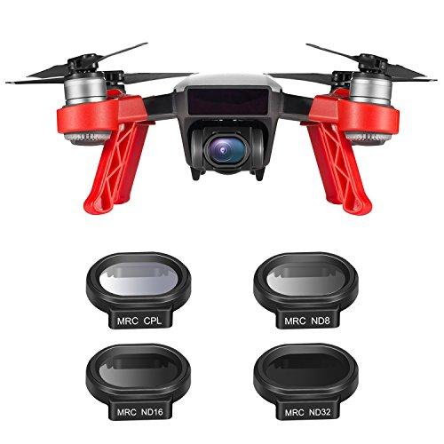 Neewer 4 Stück Dronen Objektivfilter Set für DJI SPARK Quadcopter, enthält mehrfachbeschichtete MC-16 HD ND8, ND16, ND32, CPL Filter mit Tragetasche