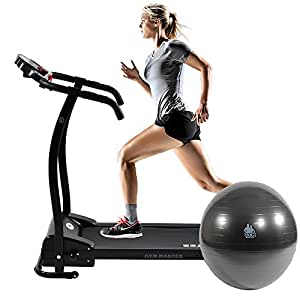 GYM MASTER ELECTRIC TREADMILL Exercise Equipment - Fitness Motorised 1.5HP Home Gym in BLACK + FREE GYM BALL