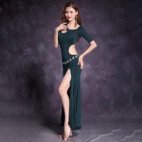 Xueyanwei Professionelle Frauen Bauchtanzkleid Bauch Tanzpraxis Kleid Big Swing Rock Indian Dance Performance Kostüm,Green