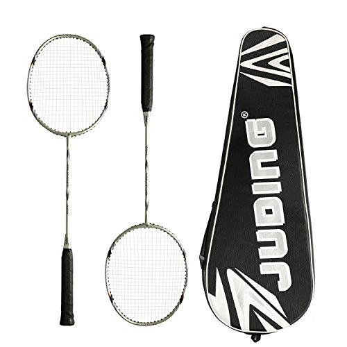 Ancees Graphit Badminton Schläger Set, Badminton Set Carbon Profi Badmintonschläger Federballschläger Set mit 2 Schläger und 1 Schlägertasche