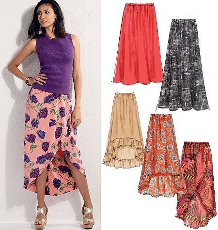 McCall's Pattern 6567 Misses Loose Fitting Skirts with Hem Variations Size L-XXL 16-18-20-22-24-26 by McCall Patterns