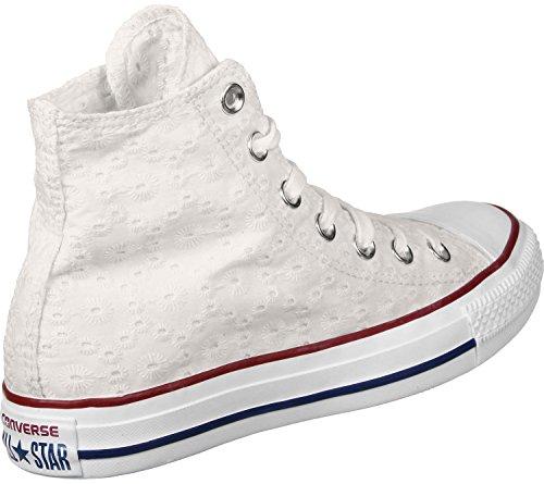 Converse Chucks 555978C Chuck Taylor All Star Eylet Strpie HI White Garnet Clematis Blue Weiss bianco beige