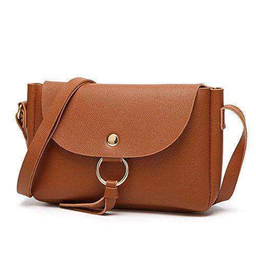 GSPStyle Damen Handtasche Schultertasche Metalzwinge Umhängetasche Braun