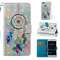 HUAWEI P9 Lite Case, Iddi-Case Fashion Cute Pattern Luxury Pu Leather Wallet Magnetic Design Flip Folio Protective Case Cover with Card Holder - Windbell