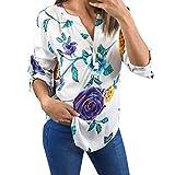 VEMOW Heißer Verkauf Sommer Muttertag Geschenk Damen Mädchen Frauen Blumendruck Halbe Hülse Tägliche Beiläufige Partei Arbeit T-Shirt Unregelmäßige Tops Bluse Pullover Pulli (Weiß, EU-46/CN-XL)