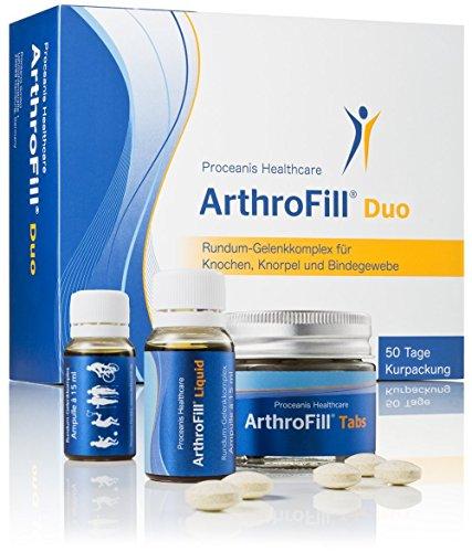 Hyaluron u. Gelenk-Nährstoffe für Knochen, Knorpel u. Bindegewebe. ArthroFill Duo: 50 Tage Starter Kur mit Hyaluronsäure, Vitamine, MSM u. Grünlippmuschel. Hochdosiert, Made in DE (Sulfat-salbe)