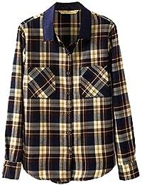 BININBOX® Damen Fashion Casual slim fit Hemd Stehkragen Top karierte Bluse Langarm-shirt Herbst Frühjahr Freizeithemd