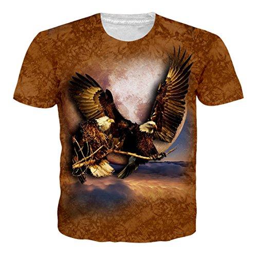 Leapparel Unisex Herren und Damen 3D Print Kurzarm Vintage T-Shirt Top mit African Eagle Design Braun XL