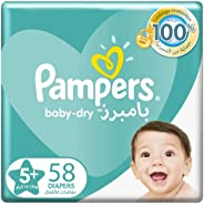Pampers Baby-Dry, Size 5+, Junior+, 12-17 kg, Giant Pack, 58 Diapers