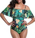 AHOOME Einteiliger Badeanzug Blumendruck, Schulter Volant Monokini Bademode(D,XL)