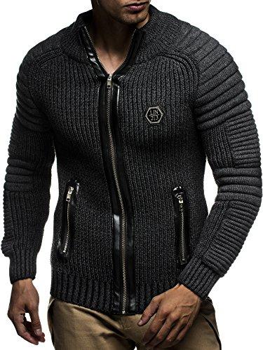LEIF NELSON Herren Strickjacke Pullover Jacke Hoodie mit Nieten Sweatshirt Biker-Style Gesteppt Schalkragen LN5175; Gr_¤e M, Anthrazit-Schwarz