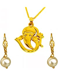 Surat Diamonds Om Ganesh Gold Plated Religious Pendant And White Shell Pearl Floral Wire Earring Set For Women...
