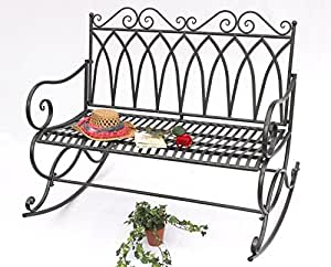Swinging bench 132730 Garden bench made from metal Bench 112cm Garden - Swing