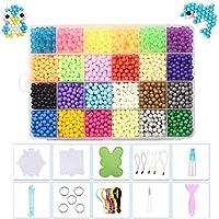 INTVN Cuentas de fusibles de Agua, Fuse Beads con Herramientas Que emparejan Completas DIY Artesanía Juguetes Educativos para Niños, 24 Colors, 3000 Piezas