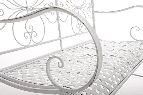 CLP 2er Garten-Bank ANNO V2 mit Armlehne, im Landhausstil, Metall Sitzbank (Eisen lackiert), grazile Form, stilvolle Verzierungen Antik-weiß - 6