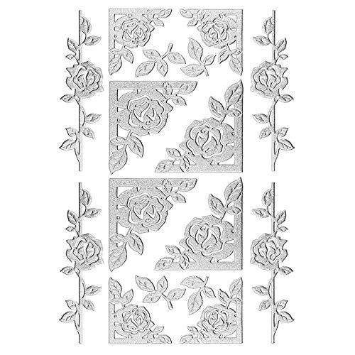 Ideen mit Herz 3-D Sticker Deluxe | Zur Hochzeit, Verschiedene Hochzeitsmotive | Erhabene Aufkleber | Bogengröße: 21 x 30 cm (Rosenranken & Rahmen | Silber)