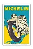 Michelin Man - Pneus moto - Ancienne affiche publicite Vintage Poster c.1959 - Reproduction Professionelle d'art Master Art Print - 31cm in x 46cm...