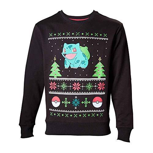 Import Europe–Pull Noël Pokémon, couleur gris foncé, Taille L